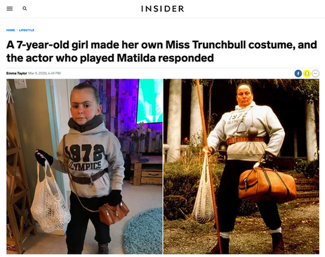 A 7-year-old girl made her own Miss Trunchbull costume, and the actor who played Matilda responded