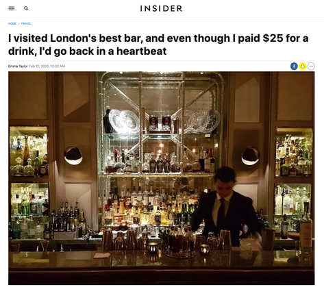 I visited London's best bar, and even though I paid $25 for a drink, I'd go back in a heartbeat