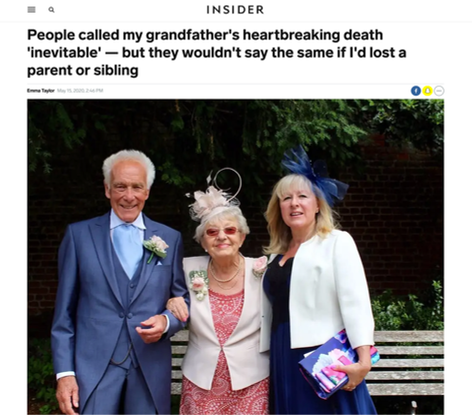 People called my grandfather's heartbreaking death 'inevitable' — but they wouldn't say the same if I'd lost a parent or sibling