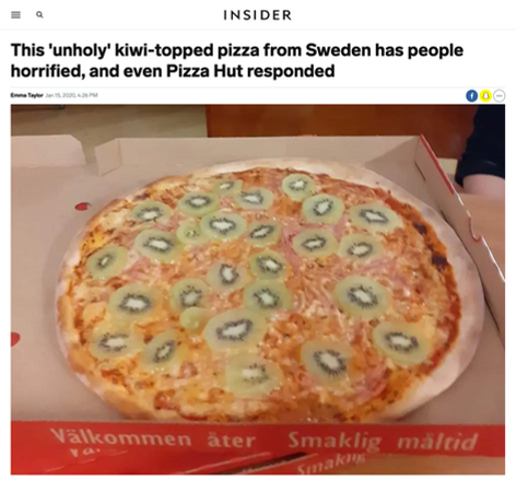 This 'unholy' kiwi-topped pizza from Sweden has people horrified, and even Pizza Hut responded
