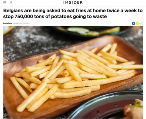 Belgians are being asked to eat fries at home twice a week to stop 750,000 tons of potatoes going to waste