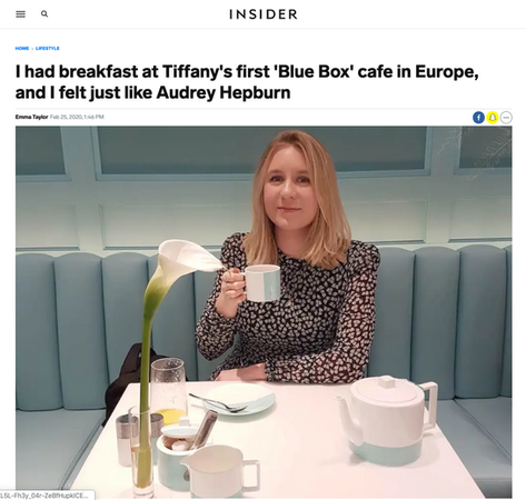 I had breakfast at Tiffany's first 'Blue Box' cafe in Europe, and I felt just like Audrey Hepburn