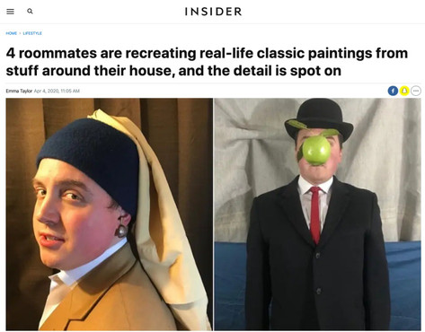 4 roommates are recreating real-life classic paintings from stuff around their house, and the detail is spot on