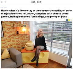 Here's what it's like to stay at the cheese-themed hotel suite that just launched in London, complete with cheese board games, fromage-themed furnishings, and plenty of puns