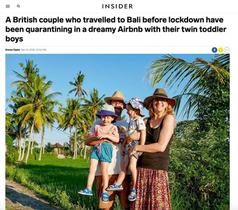 A British couple who travelled to Bali before lockdown have been quarantining in a dreamy Airbnb with their twin toddler boys