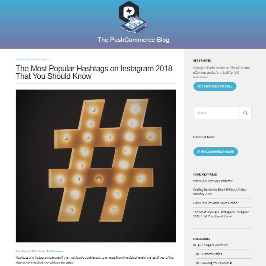 PushCommerce The most popular hashtags o