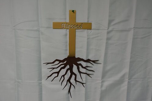 """""""Blessed"""" Cross with Roots"""