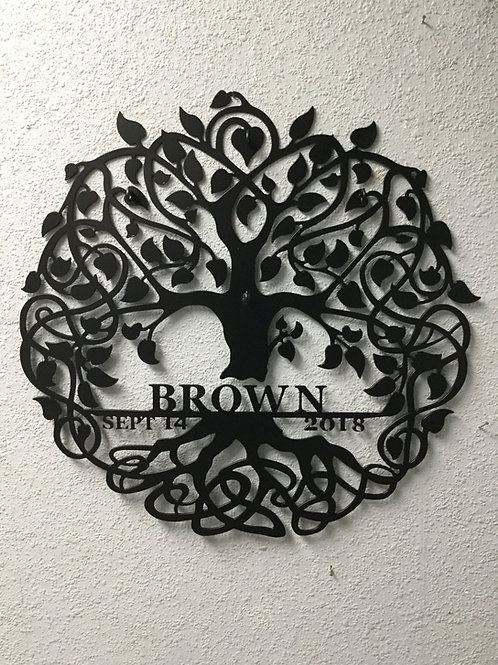 Curly Tree of Life with Family Name