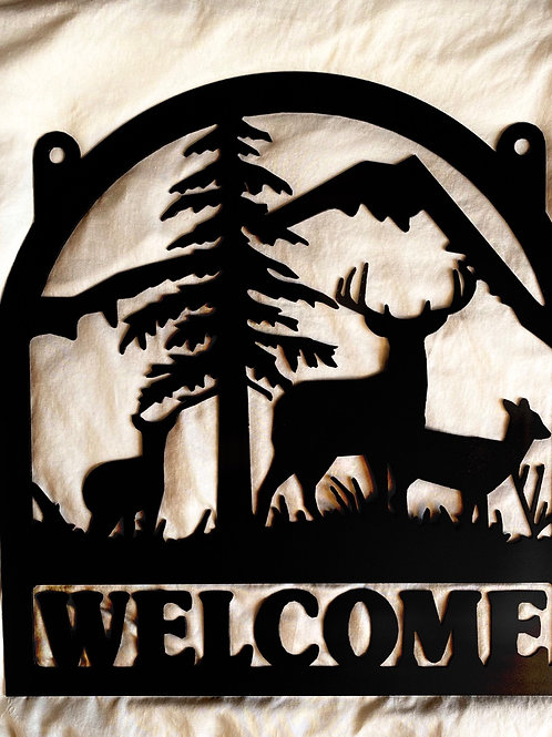 2 Doe and 1 Buck Welcome Sign