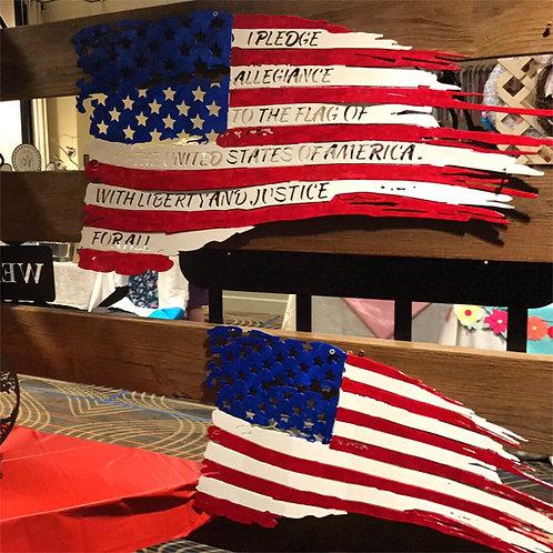 Battle worn Flag with Pledge of Allegiance