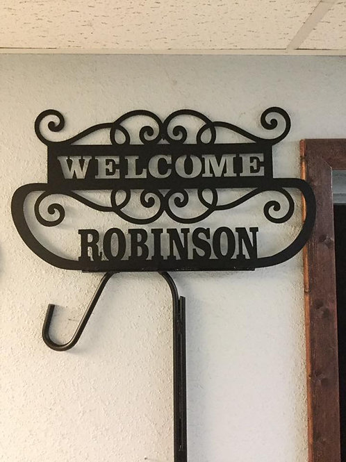 Personalized shepherds hook plant hanger