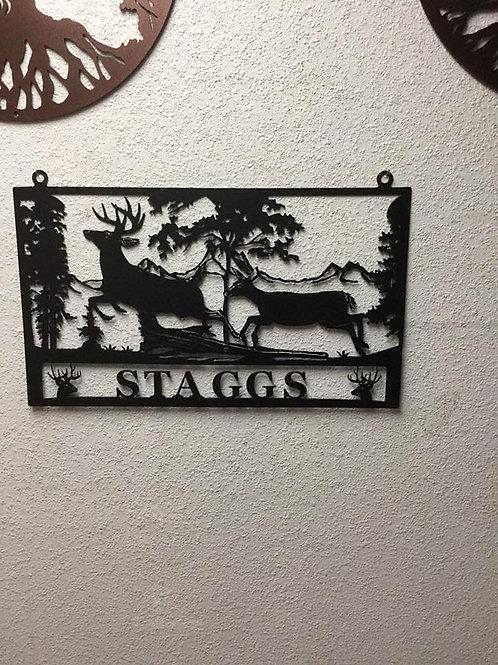 Deer Scene Sign-Customize Last Name