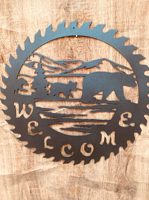Welcome Saw Blade Sign
