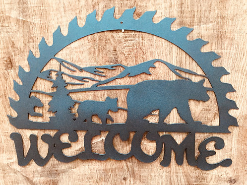 Welcome Half Saw Blade Sign
