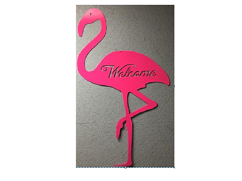 4 Foot Flamingo with Welcome