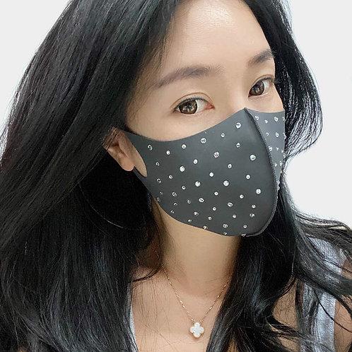 Grey Rhinestone Mask
