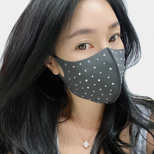 Polka Dot Grey Rhinestone Mask