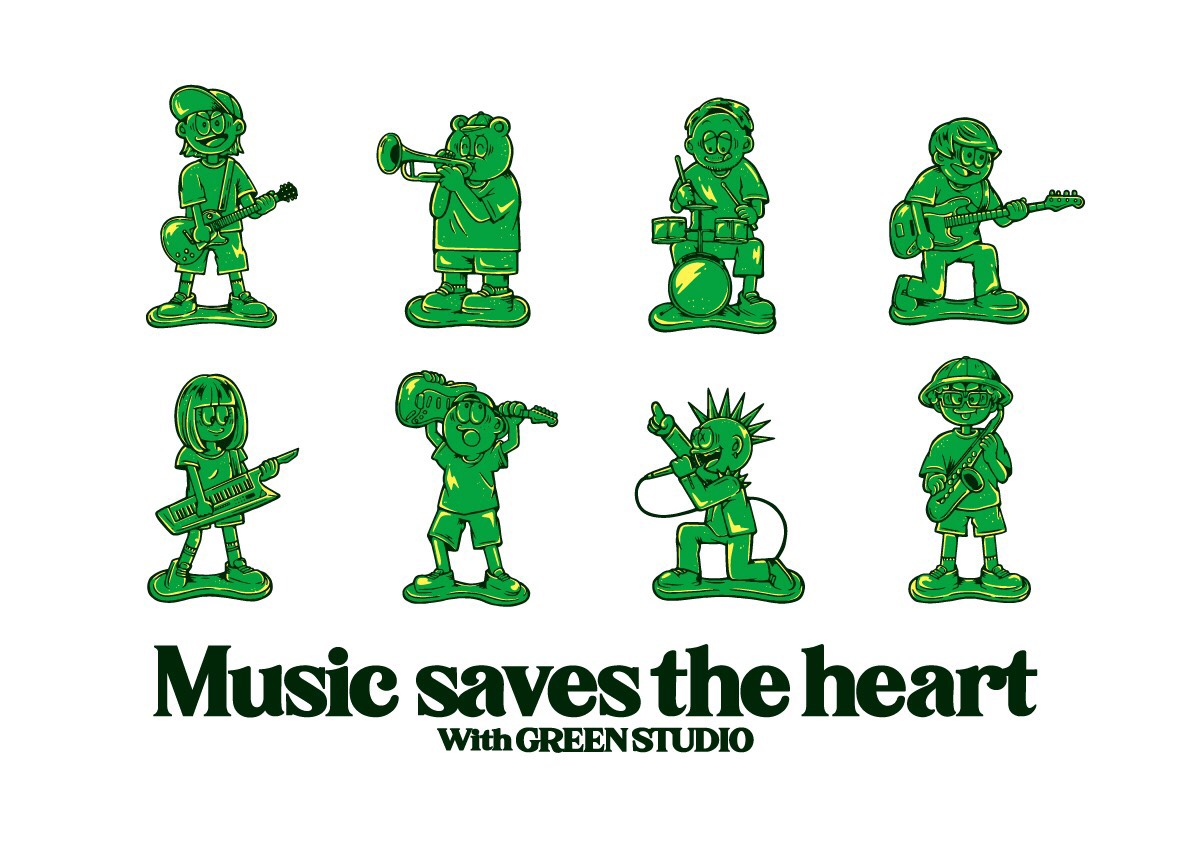 GREENSTUDIO「Musiv saves the heart」Tシャツデザ