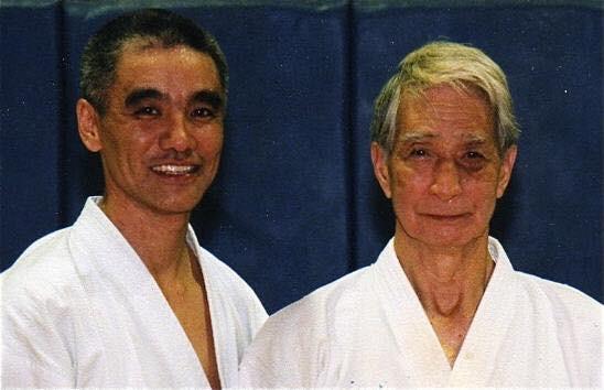 Toru Shimoji with his teacher Sensei H. Nishiyama