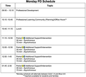 Spring 2021 Schedule/Calendar