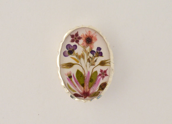 White Small Ornate Brooch