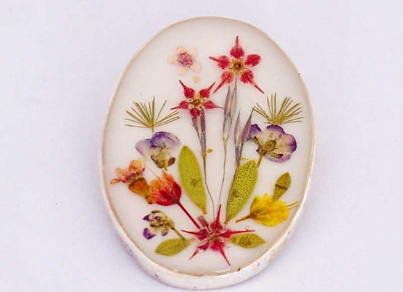 White Small Oval Brooch