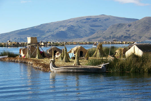 Manmade Island on Lake Titicaca