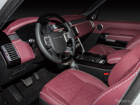 Перетяжка салона Range Rover вишневой кожей