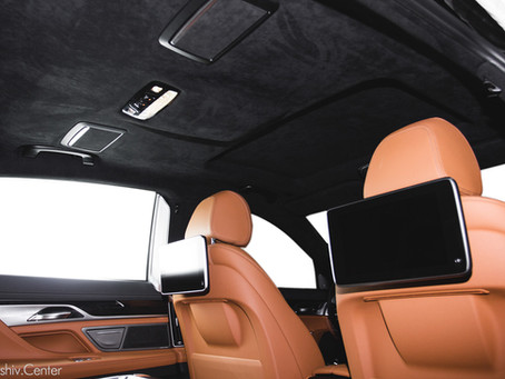 Перетяжка салона BMW 7 кожей и алькантарой