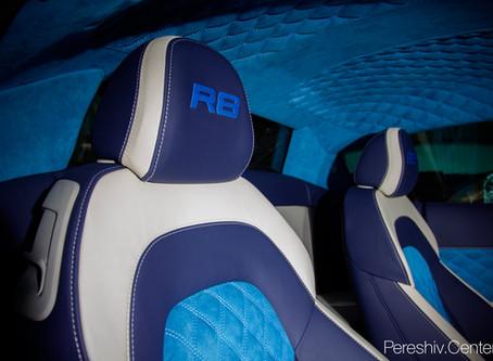 Перетяжка салона Audi R8 кожей и алькантарой