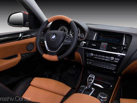Перетяжка салона BMW X3 рыжей и черной кожей