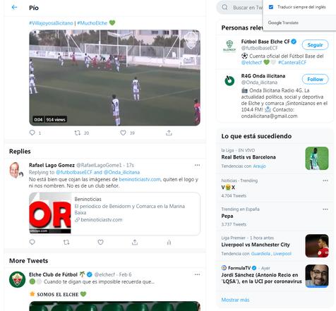 El Twitter del Elche CF, piratea las imágenes del partido contra el Villajoyosa y ni nos nombra