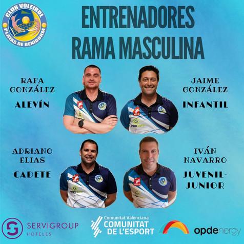 Hoy os presentamos a los entrenadores de los equipos Base Masculinos del Voleibol Playas de Benidorm