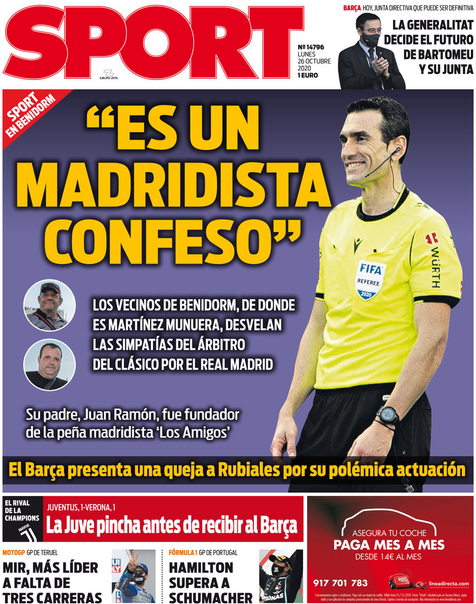 El diario Sport se la tiene que comer doblada por su reportaje contra el árbitro Martínez Munuera
