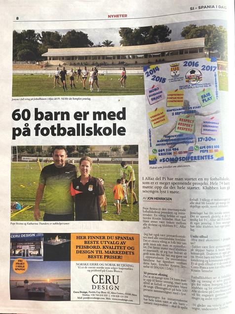 La Prensa Internacional se hace eco de la Escuela de Fútbol del CF Alfaz del Pi