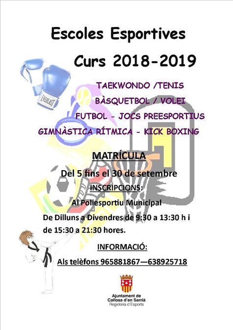 Abierto el plazo de matrícula de las escuelas deportivas 2018/2019