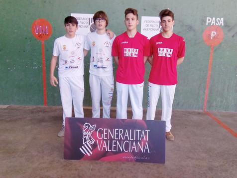 Los equipos cadete y juvenil de la Escola Municipal de Pilota Valenciana de Benidorm, subcampeones p