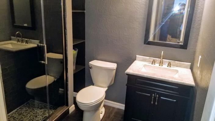 full bathroom remodel w_ open shelving iz