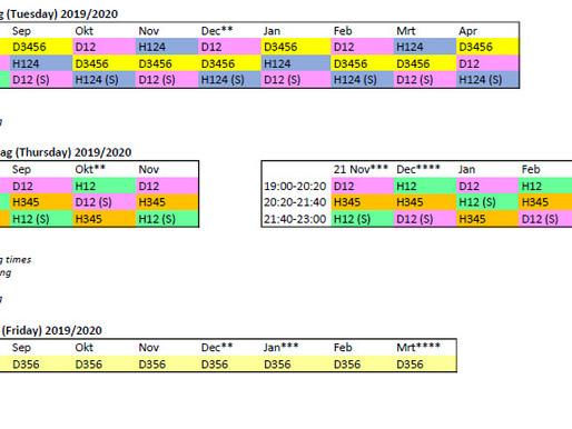 Dit is het trainingsschema voor dit seizoen
