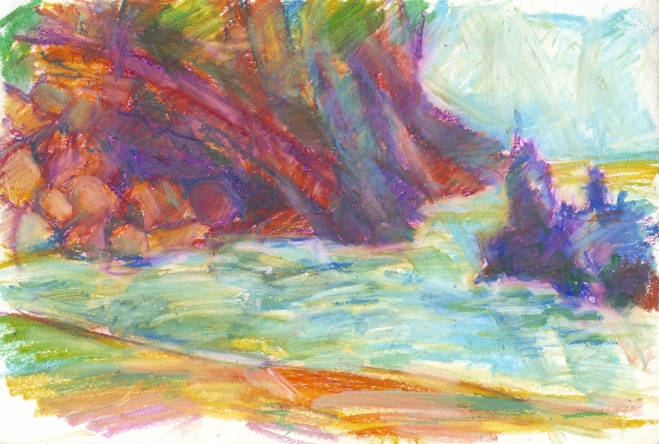 Black sand red cliffs - pastels