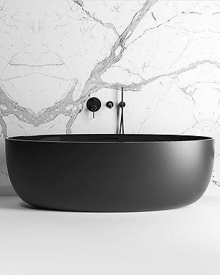 Black Bathtub. Marble Bathroom.