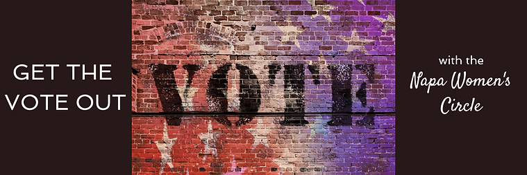A brick wall that appears red, white, and purple with white stars and the word vote in black letters