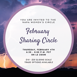 """A white circle lined with purple frames the words """"You are Invited to the Napa Women's Circle February Sharing Circle"""" overlays a sky filled with purple storm clouds and a bolt of lightning against an orange sky"""