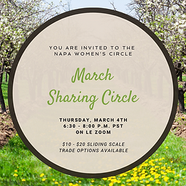 """A tan circle with the text """"You are Invited to the Napa Women's Circle March Sharing Circle"""" lays over an image of yellow flowers and trees in bloom with white flowers."""