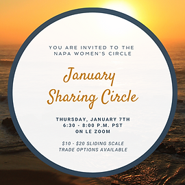 """A white circle lined with dark blue frames the words """"You are Invited to the Napa Women's Circle January Sharing Circle"""" overlays an orange sun rising above a dark ocean"""