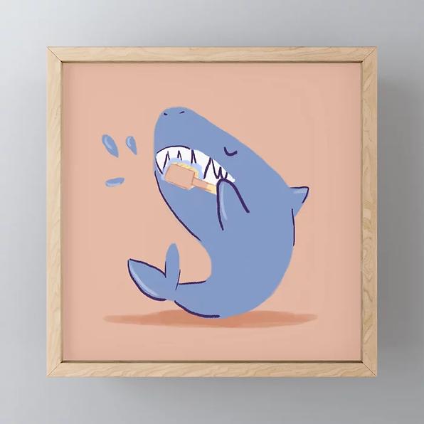 teeth-brushing-shark-framed-mini-art-pri