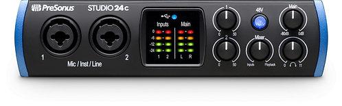 PreSonus Studio 24c 2X2 USB-C / 24-bit/192kHz, w/2 Mic inputs
