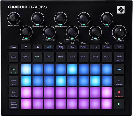 Novation Circuit Tracks: two polyphonic digital synth tracks, four drum tracks