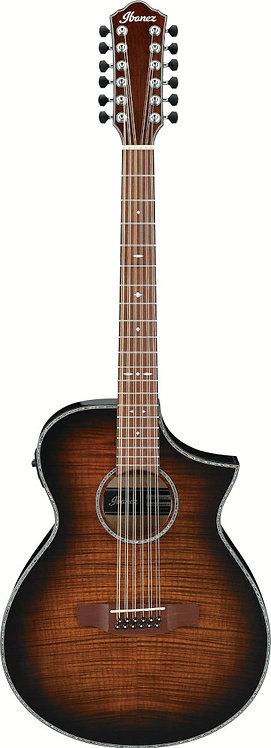 Ibanez AEWC4012FMTIB - 12 string AEWC guitar - Tiger Burst High Gloss