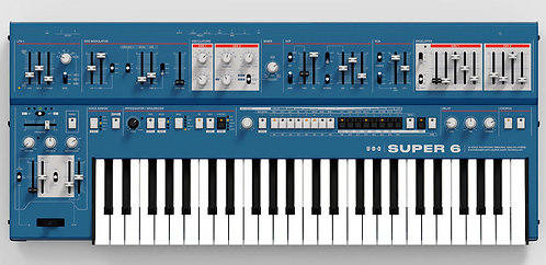UDOAudio Super 6 Blue: 12-voice polyphonic, binaural analog-hybrid synthesizer